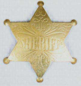 Sheriff Badge - Star-Scroll - Gold-0