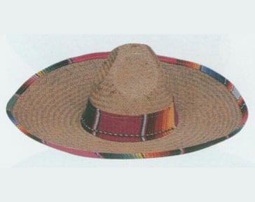 Mexican Straw Sombrero with Serape Band-0