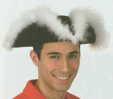 Tricorne Felt Hat with Feathers-0