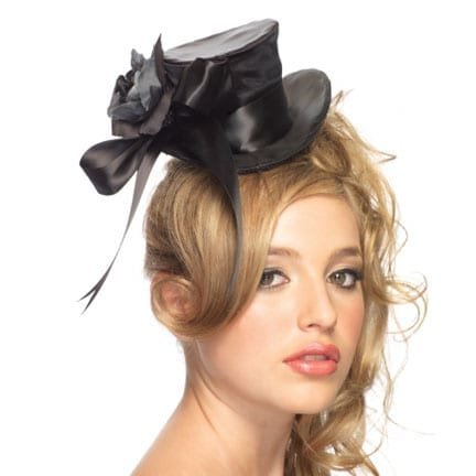 Satin Top Hat with Flower and Bow accent-0