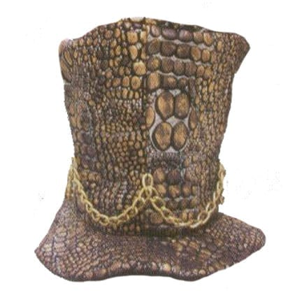 Snakeskin Tall Hat with Chain-0