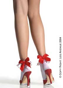 Opaque Anklet with Embroidered Hearts Ruffle-0