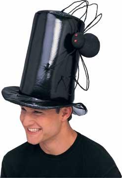 Black Vinyl Stovepipe Spider Hat-0