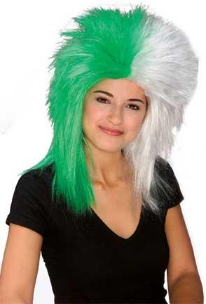 Sports Fanatic Wig - Green/White-0