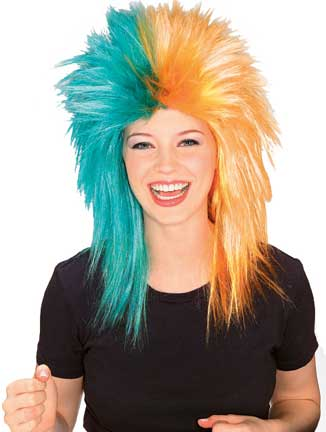 Sports Fanatic Wig - Teal/Orange-0