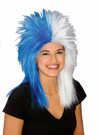 Sports Fanatic Wig - Blue/White-0