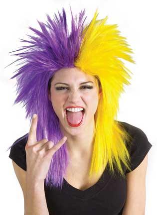 Purple/Yellow Sports Fanatic Wig-0