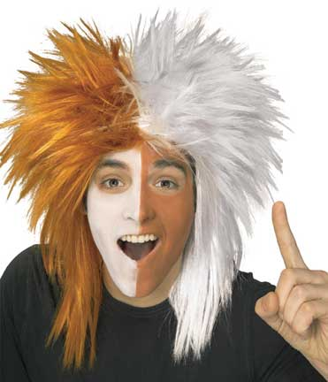 Orange/White Sport's Fanatic Wig-0