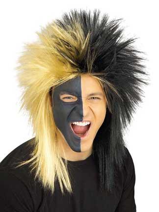 Black/Gold Sports Fanatic Wig-0