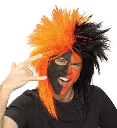 Black/Orange Sports Fanatic Wig-0
