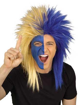 Blue/Gold Sports Fanatic Wig-0