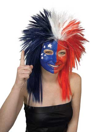 Red/White/Blue Sports Fanatic Wig-0