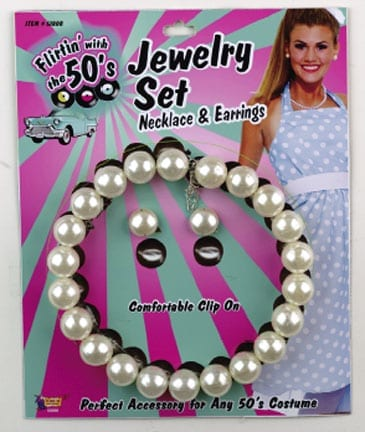 Fifties Pearl Necklace and Earrings-0