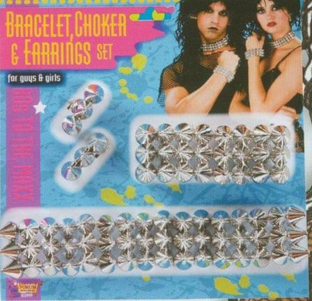 Spike Bracelet, Choker, and Earrings Set-0