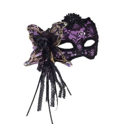 Black Lace Mask with Gold-0