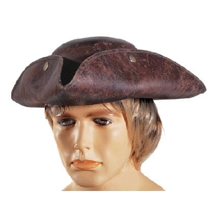 Brown Leatherette Pirate Hat-0