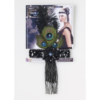 Black Flapper Headband with Peacock Feather-0