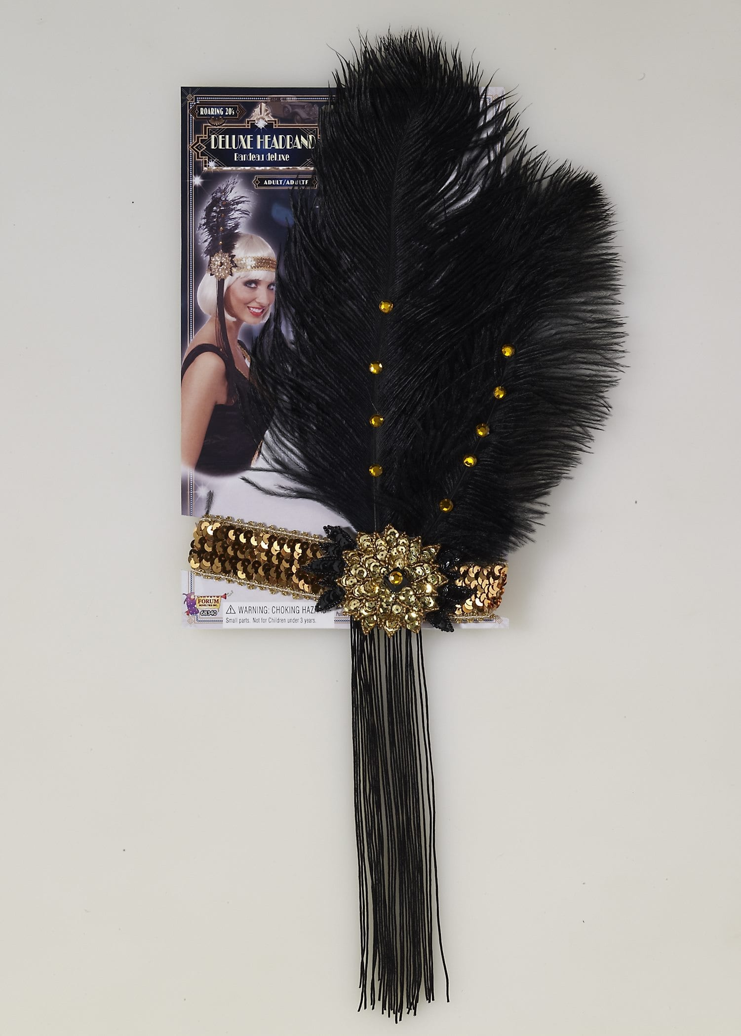 Gold Flapper Headband with Black Feather-0